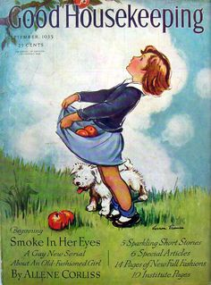 Stock Photo - Front cover of Good Housekeeping magazine for September 1935 with an illustration by Vernon Thomas Old Magazines, Vintage Magazines, Vintage Postcards, Vintage Advertisements, Vintage Ads, Vintage Images, Vintage Designs, Retro Kids, Journal Vintage