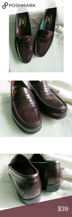 Men's Penny Loafers Dexter Comfort Burgundy 10 +Super sharp Men's Penny Loafers from vintage line of Dexter. Hard to find leather outsoles, gorgeous burgundy/ oxblood leather dress shoe. Made in the USA! Size 10, runs true to size (my hubby tried on) with comfort insole. Very minor scuffs (pictured), excellent condition and many miles left! +Your purchase helps support local & national charities, and I'm a veteran reseller, fashion consultant, and SAHM. Thanks so much! --Jen #655 Dexter…