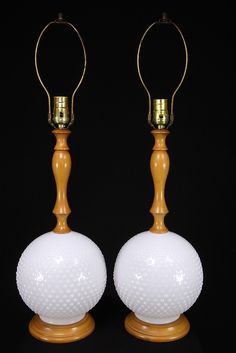 Two Matching Milk Glass Hobnail & Maple Wood Electric Table Lamps Vintage Pair