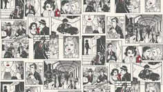 Comic Strip (422-1) - Albany Wallpapers - A fun black and white comic strip cartoon style wallcovering with film noir characters.  With red highlights.  Please request sample for true colour match.