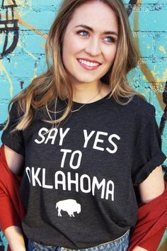 Say Yes To Arkansas Triblend Unisex Tee |  Wanderlust Theme Tee Womens Boutique Wholesale U.S. StateCollegiate Style Outfit Travel Graphic T Shirt Oklahoma University of Oklahoma Oklahoma State Sooners Cowboys