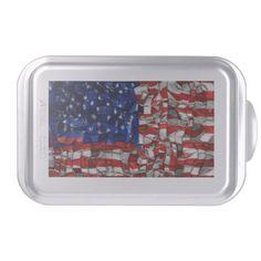 American Flag Blocks Cake Pan