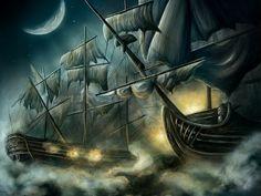 Epic Sky Boat Battle #illustration