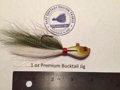 Chartreuse Head White Hair 5 Pack 3//4 oz 3D EYE Bucktail Minnow Head Jig