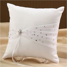 "WeddingDepot.com ~ Ring Bearer Pillow - Sparkle - White ~  The Sparkle Ring Bearer Pillow measures 8"" square and is covered in a soft matte satin.  The front side's design includes a pleated and gathered tulle ribbon that extends horizontally across the pillow and is decorated with sparkling beads."