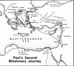 paul missionary journeys coloring page | Below is a map of Paul's Second Missionary Journey and also one of ...