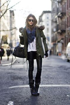 military jacket  + faux leather leggings + biker boots