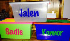 Personalized Lego Storage container by MonogramCollection  $16.00 available in clear, primary colors and bright colors www.etsy.com/shop/monogramcollection