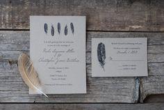 Sale  Feather Wedding Invitation Suite  Bohemian by postscripts, $2.00