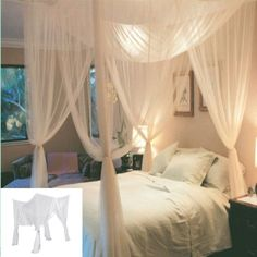 Bedding 4 Corner Post Bed Canopy White Mosquito Net Full Queen King Size Netting