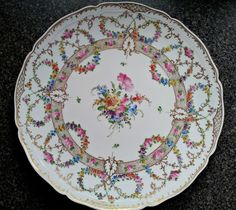 Dresden Franziska Hirsch Hand Painted Porcelain Plate Or Charger - 12-3/4 inches