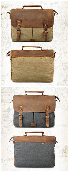Canvas Leather Bag Briefcase Messenger Bag Shoulder Bag Laptop Bag 1807 **************************** We use selected thick genuine cow. Laptop Messenger Bags, Laptop Bags, Leather Men, Leather Bags, Vintage Canvas, Men's Collection, Canvas Leather, Satchel, Canvas Bags