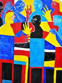 """Subaltern Resistance Discussion   30x40 This is about a Deaf group sitting around table, discussing Subaltern Resistance, that happened for years & throughout today's society. Inspired by Paddy Ladd's book, """"Understanding Deaf Culture in Search of Deafhood"""" p. 138-139. Painting shows bold colors w/ Deaf people discussing abt past. Some were shocked, upset & then angry. http://www.nancyrourke.com/subalternresistance.htm"""