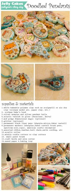 learn how to make your own doodled clay pendants Jelly Lane Art Blog