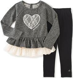Product Description Girls 2 pieces pant set - yarn dyed French terry with lace trim tunic and leggings Cotton, Polyester Imported Machine Wash Tunic Leggings Toddler Boy Fashion, Toddler Outfits, Kids Outfits, Kids Fashion, Toddler Leggings, Toddler Jeans, Leggings Outfit Fall, Tunics With Leggings, Lace Tunic
