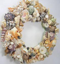 Beach Decor Seashell Wreath  Shell Wreath w by beachgrasscottage, $125.00