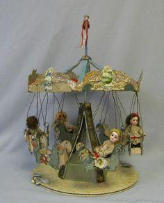 Antique Folk Art Key Wind Toy Carousel Four All Original Dolls Toy Art, Victorian Toys, Victorian Dollhouse, Modern Dollhouse, Bisque Doll, Old Dolls, Tin Toys, Antique Toys, Miniature Dolls