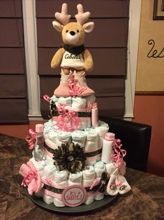 Camo and Pink Diaper Cake