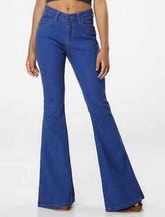 Calça Rosa Chá Flare High Buenos Aires Jeans - Glamour
