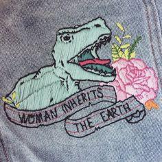 god creates man, man creates dinosaur, dinosaur eats man, woman inherits the earth
