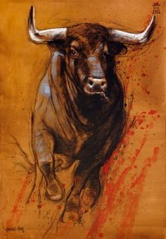 Cow Art, Horse Art, Bull Painting, Bull Tattoos, Bull Cow, Bull Riding, Animal Paintings, Farm Animals, Painting Inspiration
