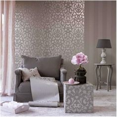 hot pink wallpaper interior design at DuckDuckGo Pink Bedroom Design, Pink Bedroom Decor, Pink Bedroom For Girls, Pink Bedrooms, Trendy Bedroom, Living Room Grey, Living Room Bedroom, Living Room Decor, Pink Wallpaper Interior