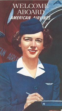 Such a classy, lovely look for a flight attendant. I wish these same uniforms were still in use. #vintage #airline #airplane #travel #1950s #fifties #hostess #stewardess #flight #attendant