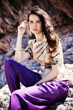Golden hemp jacket with digitally printed sleeves (JSS158) / Purple bamboo harrem pants (PSS153A) Menesthò visit www.menestho.com to pre-buy #menestho #ethical #sustainable #fashion #resortwear #ss15