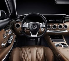 Interior shot of the 2015 Benz S65 AMG Coupe. I do love the style and design of the 65 AMG, yet I wonder does a luxury coupe need to go that fast? What happened to low and slow?