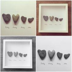 Heart family pebbleart frame