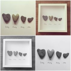 Heart family pebbleart frame
