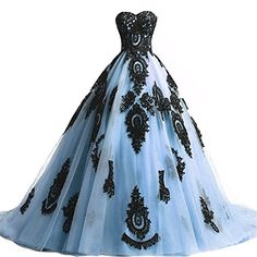 Black Lace Long Tulle A Line Prom Dresses Evening Party Corset Gothic Wedding Gowns Sky Blue US 22W * Check out the image by visiting the link. (Note:Amazon affiliate link)