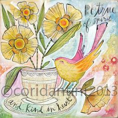 ORIGINAL watercolor painting of a bird and tea cup -  8 x 8 inches - by Cori Dantini