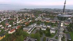Aerial video of Tyholt TV Tower, Trondheim, Norway