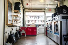Photography by Nate Watters — Spin Laundry Lounge Laundry Business, Cleaning Business, My Beautiful Laundrette, Laundry Shop, Lounge Design, Fresh And Clean, Wardrobe Rack, Spinning, Coffee Shop
