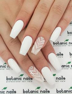 White Acrylic Nails, White Nail Art, White Nails, Pink Nails, White Manicure, Color Nails, Gel Color, Periwinkle Nails, Glitter Manicure