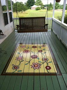 Browse photos of back porch ideas to get inspiration for your own remodel. Discover porch decor and railing ideas, as well as layout and cover options. Painted Porch Floors, Porch Paint, Porch Flooring, Painted Rug, Painted Decks, Painted Patio Concrete, Painted Floor Cloths, Painting Tile Floors, Painting Concrete