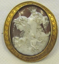 LARGE Antique Victorian 18K Yellow Gold Cameo Brooch Day Night