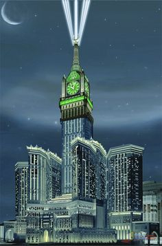 Makkah Royal Clock Tower - Saudi Arabia / Tallest Clock Tower of the World / Makkah Pictures Mecca Masjid, Masjid Al Haram, Mecca Wallpaper, Islamic Wallpaper, Allah Wallpaper, Makkah Tower, Mekkah, Beautiful Mosques, Islamic Architecture