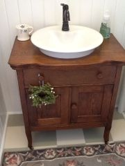 with a style of sink on top instead of set in, this would work with one of my pi. - with a style of sink on top instead of set in, this would work with one of my pieces. Cabin Bathrooms, Primitive Bathrooms, Rustic Bathrooms, Downstairs Bathroom, Laundry In Bathroom, Small Bathroom, Bathroom Ideas, Dresser Vanity Bathroom, Bathroom Vanities