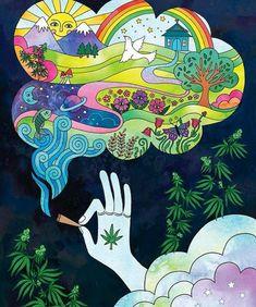 It's fun to imagine things when stoned weedporn weed marijuana pot cannabis stonerwithaboner stoner stonermemes thc Hippie Painting, Trippy Painting, Arte Dope, Dope Art, Trippy Drawings, Art Drawings, Psychedelic Art, Arte Indie, Marijuana Art