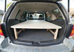 Homemade Collapsable, minimal-bulk sleeping platform for SUV
