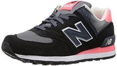New Balance Women's WL574 Core Plus Running Shoe, Black/Guava, 10 B US