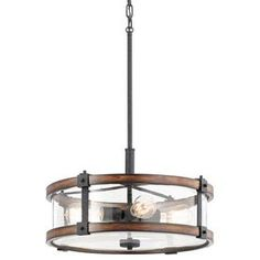 kichler lighting barrington 18in w distressed black and wood pendant light with seeded shade