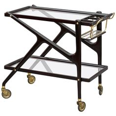 Bar Trolley Designed by Cesare Lacca, Italy, 1950 | From a unique collection of antique and modern bar carts at https://www.1stdibs.com/furniture/tables/bar-carts/