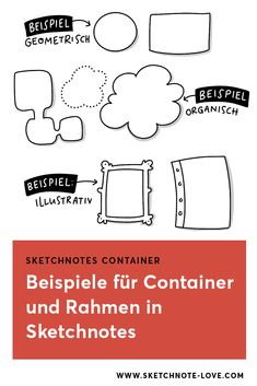 Mit Rahmen und Containern Ordnung in Sketchnotes bringen. So geht's Visual Learning, Sketch Notes, Simple Doodles, Zentangle, Digital Marketing, Container, Bullet Journal, Sketchbooks, Bujo