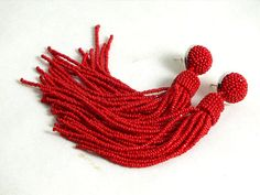 Long tassel earrings  clip  on earrings in red by RebekeJewelry