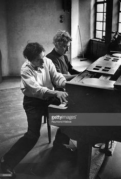 American comedians, Adolph 'Harpo' (1888 - 1964) and Leonard 'Chico' (1886 - 1961) Marx, rehearsing their act for the London Palladium. Original Publication: Picture Post - 4822 - The Marx Brothers What Makes Them Tick - pub. 1949