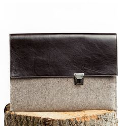 René - MacBook Sleeve - Felt and Leather - CANTIN - Permanent Collection #fashion #montreal #handmade  #macbook