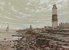 Rob Adams, Lighthouse, Snow, Drawings, Sketching, Portland, Outdoor, Bell Rock Lighthouse, Outdoors